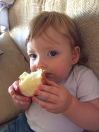Enjoying an entire apple